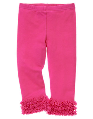 Toddler Girls Daisy Pink Tulle Ruffle Legging by Gymboree
