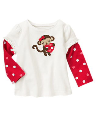 Ivory Valentine Monkey Double Sleeve Tee by Gymboree