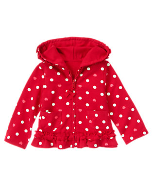 Toddler Girls Valentine Red Dot Heart Dot Ruffle Hoodie by Gymboree