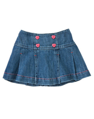 Toddler Girls Denim Heart Button Jean Skirt by Gymboree