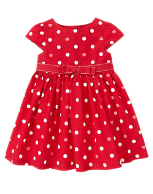 Toddler Girls Valentine Red Dot Bow Heart Dot Dress by Gymboree