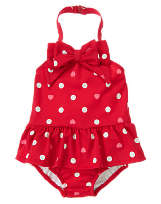 Toddler Girls Valentine Red Dot Bow Heart Dot One-Piece Swimsuit by Gymboree