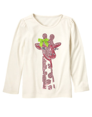 Holiday Ivory Bow Sequin Giraffe Tee by Gymboree
