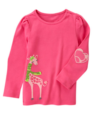 Loveable Pink Sequin Giraffe Tee by Gymboree