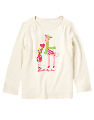 Holiday Ivory Gem Girl & Giraffe Tee by Gymboree