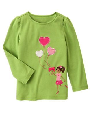 Lime Green Girl & Heart Balloons Tee by Gymboree