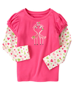 Loveable Pink Gem Giraffe Friends Double Sleeve Tee by Gymboree