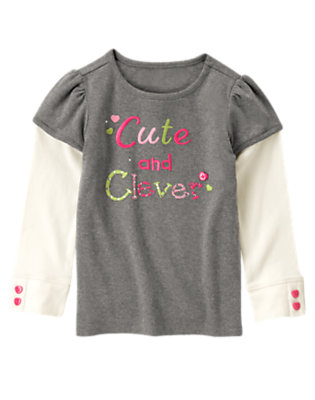 Heather Grey Gem Cute & Clever Double Sleeve Tee by Gymboree