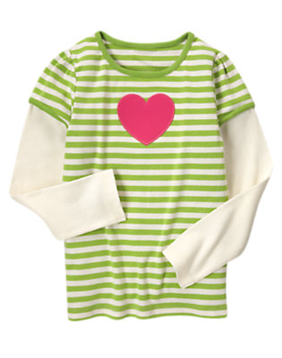 Lime Green Stripe Patent Heart Stripe Double Sleeve Tee by Gymboree