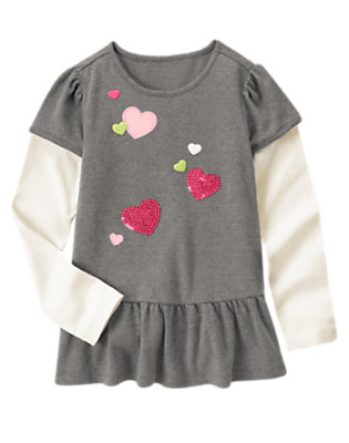 Heather Grey Sequin Heart Double Sleeve Tunic Top by Gymboree