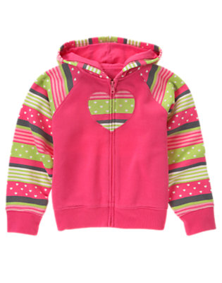 Girls Loveable Pink Stripe Heart Stripe Fleece Hoodie by Gymboree