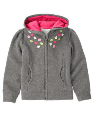 Girls Heather Grey Embroidered Heart Fleece Hoodie by Gymboree