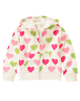 Holiday Ivory Heart Heart Fleece Hoodie by Gymboree