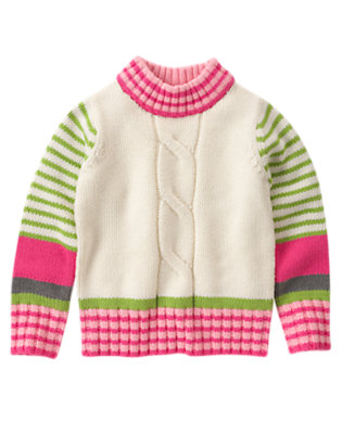 Girls Holiday Ivory Stripe Stripe Chunky Cable Sweater by Gymboree