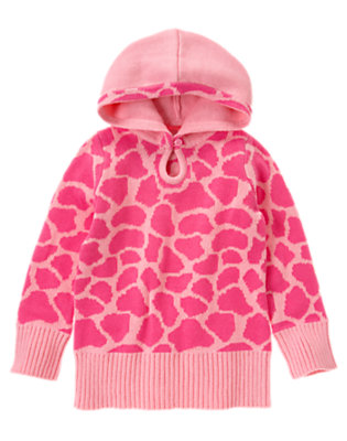 Girls Loveable Pink Giraffe Giraffe Sweater Hoodie by Gymboree