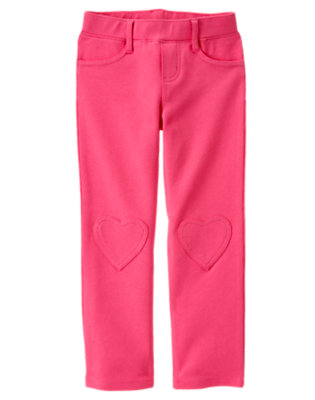 Girls Loveable Pink Heart Knee Patch Ponte Pant by Gymboree