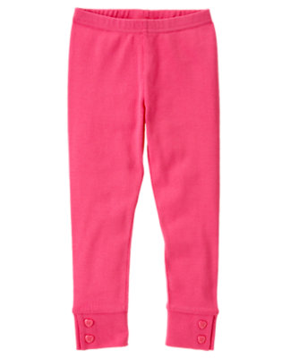 Girls Loveable Pink Heart Button Cuff Legging by Gymboree