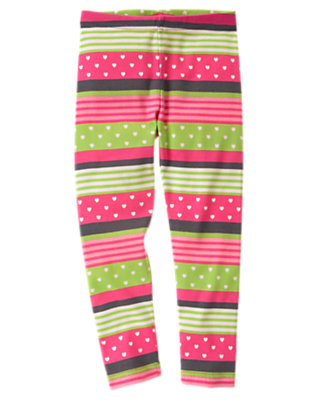 Girls Loveable Pink Stripe Heart Stripe Legging by Gymboree