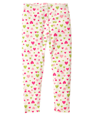 Girls Holiday Ivory Heart Heart Legging by Gymboree