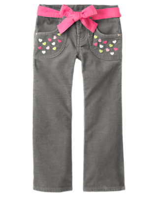 Cozy Grey Heart Belted Corduroy Pant by Gymboree