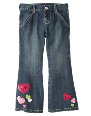 Girls Denim Sequin Heart Bootcut Jean by Gymboree