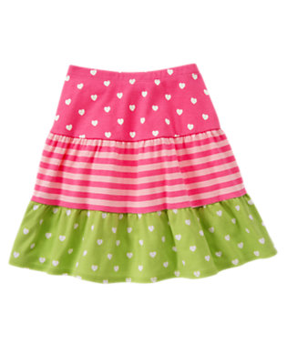 Girls Loveable Pink Heart Hearts & Stripes Tiered Skirt by Gymboree