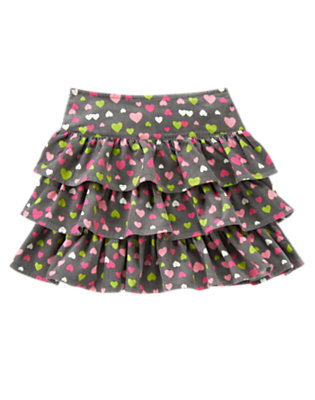 Girls Cozy Grey Heart Heart Ruffle Corduroy Skort by Gymboree