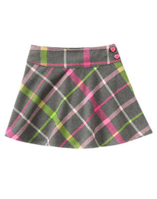 Girls Heather Grey Plaid Heart Button Plaid Skort by Gymboree