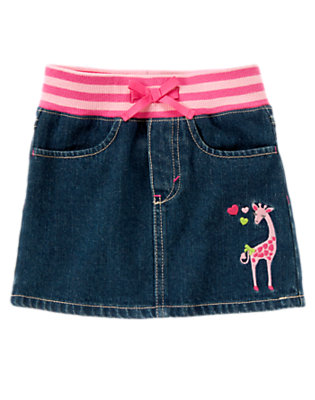Girls Denim Giraffe Heart Jean Skort by Gymboree