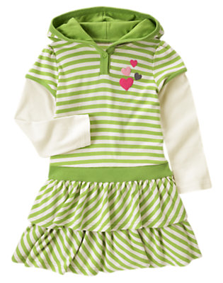 Girls Lime Green Stripe Stripe Double Sleeve Hoodie Dress by Gymboree