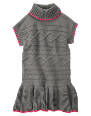 Girls Heather Grey Cable Sweater Dress by Gymboree