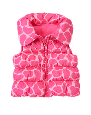 Girls Loveable Pink Giraffe Giraffe Puffer Vest by Gymboree