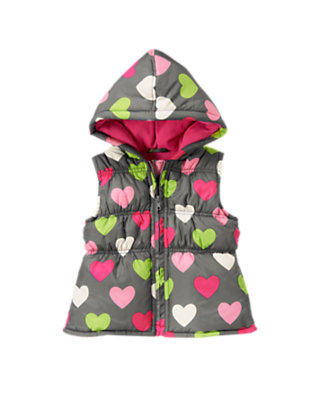 Cozy Grey Heart Heart Hooded Puffer Vest by Gymboree