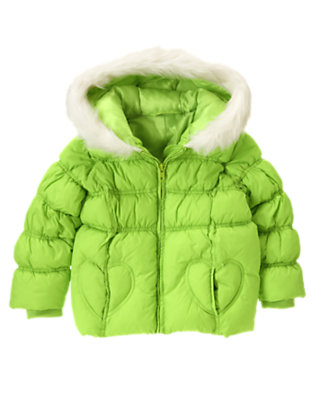 Girls Lime Green Heart Pocket Hooded Puffer Jacket by Gymboree