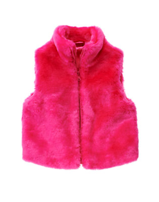 Girls Loveable Pink Faux Fur Vest by Gymboree