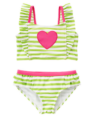 Girls Lime Green Stripe Heart Stripe Two-Piece Tankini Swimsuit by Gymboree