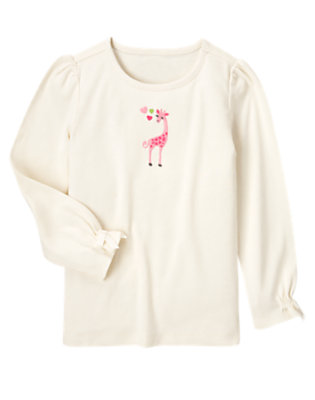 Holiday Ivory Embroidered Heart Giraffe Tee by Gymboree