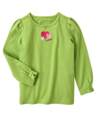 Lime Green Embroidered Heart Tee by Gymboree