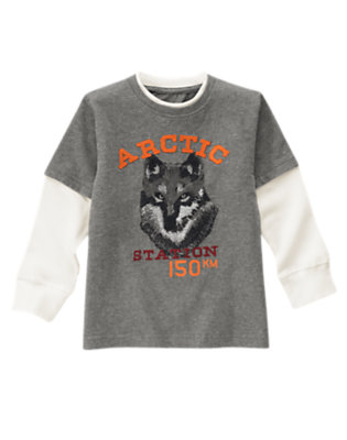 Soft Heather Grey Arctic Wolf Double Sleeve Tee by Gymboree