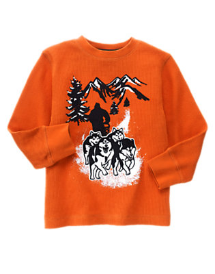 Boys Orange Ochre Sled Dog Team Thermal Tee by Gymboree