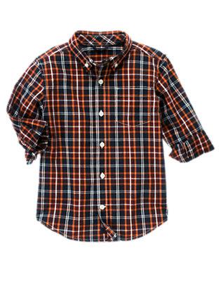 Navy Plaid Plaid Shirt by Gymboree