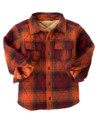 Orange Ochre Plaid Plaid Flannel Shacket by Gymboree