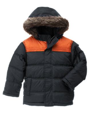 Navy Faux Fur Hooded Puffer Jacket by Gymboree