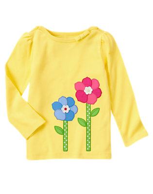 Sunny Yellow Growing Flowers Long Sleeve Tee by Gymboree