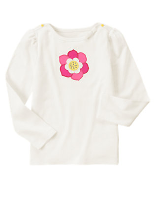 Ivory Gem Flower Long Sleeve Tee by Gymboree