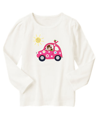 Ivory Girl In Car Long Sleeve Tee by Gymboree