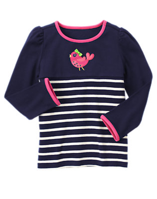 Spring Navy Stripe Gem Bird Stripe Tee by Gymboree