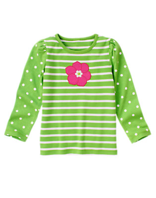 Clover Green Dot Flower Stripe Dot Tee by Gymboree