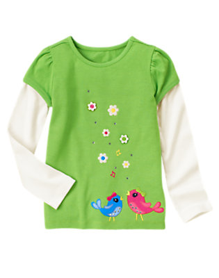 Clover Green Gem Bird Double Sleeve Tee by Gymboree