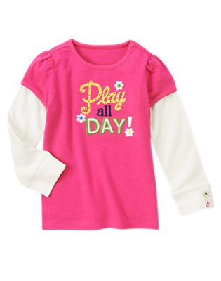 Daisy Pink Gem Play All Day Double Sleeve Tee by Gymboree